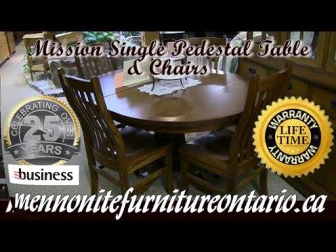 Mission Quarter Sawn Oak Single Pedestal Table, Mission Furniture Ontario.