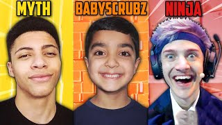 LITTLE BROTHER CALLS OUT NINJA AND MYTH TO A FORTNITE 1V1 TOURNAMENT! | BABYSCRUBZ VS NINJA VS MYTH