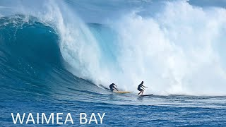 Surfing Big Waves At Waimea Bay On The North Shore Of Oahu In Hawaii