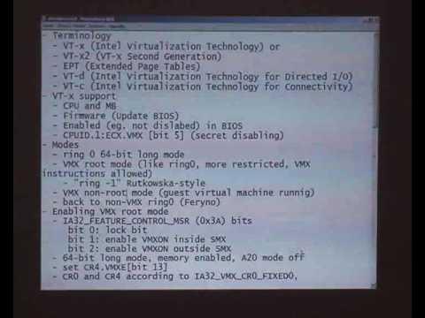fasmcon 2009 - Martin Mocko: Intel Virtualization (VT-x) Tutorial, Part 1