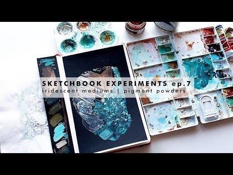 SKETCHBOOK EXPERIMENTS ep. 7 - WINSOR AND NEWTON iridescent medium & PENTART pigment powder