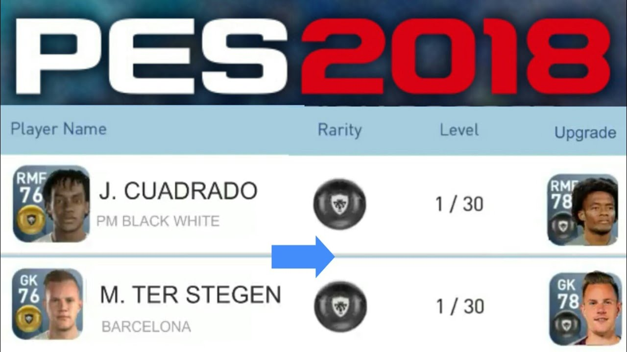 Pes 18 full Updated Players list (gold to black) - Pes Mobile