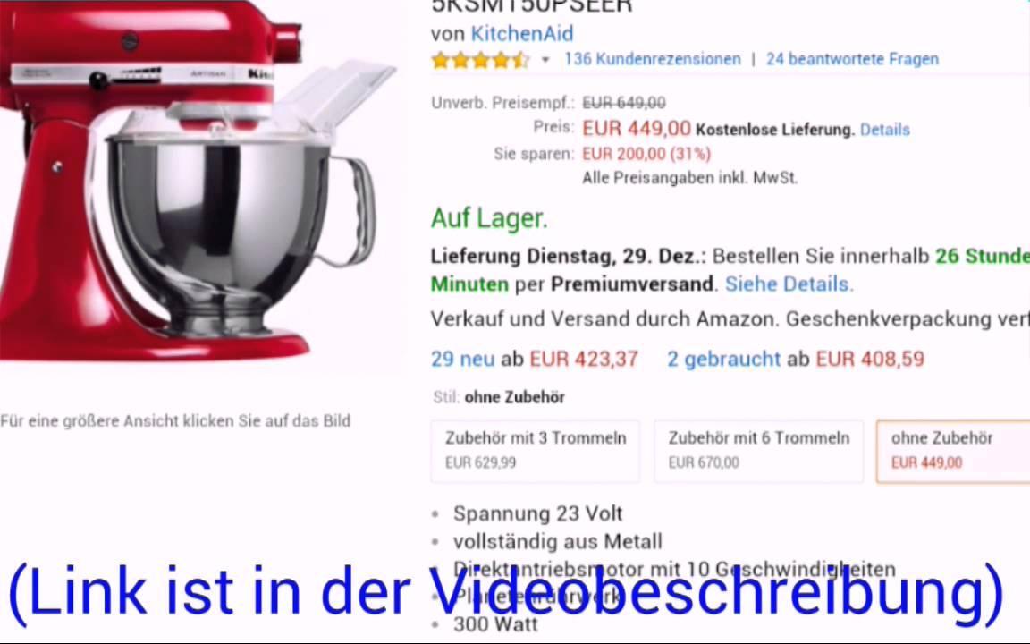 KitchenAid Artisan Küchenmaschine für 423,37 Euro online kaufen w ...