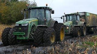 Mais Hakselen 2017 | Extreme Mudding | John Deere 8310R, 8370R, 8530 & 8600i Gets Stuck
