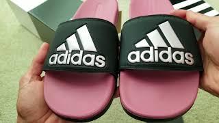Double Unboxing ADIDAS Slip On Sandals Men & Women + On Feet! 7 6 18