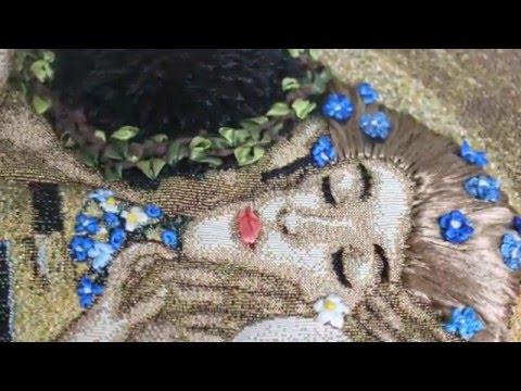 Kiss Art Based on Gustav Klimt's  painting - Embroidery on the tapestry - Густав Климт Поцелуй
