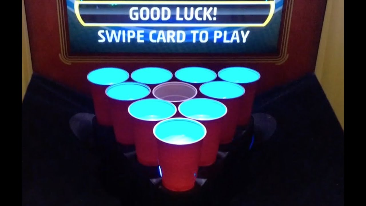 The Virtual Beer Pong Game At Dave And Busters Youtube