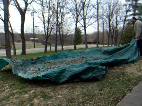 cleaning leaves off a huge plastic tarp the easy way