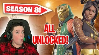 I BOUGHT ALL 100 TIERS!! - FORTNITE SEASON 8 UNLOCKED!