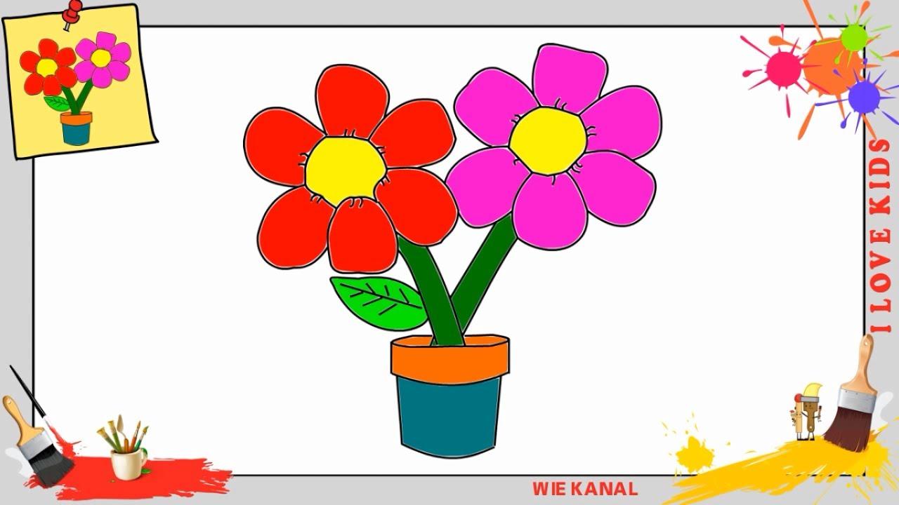 Blume Zeichnen 2 Schritt Fur Schritt Fur Anfanger Kinder