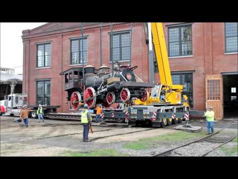 """Arrival of the """"Texas"""" Locomotive at the N.C. Transportation Museum"""