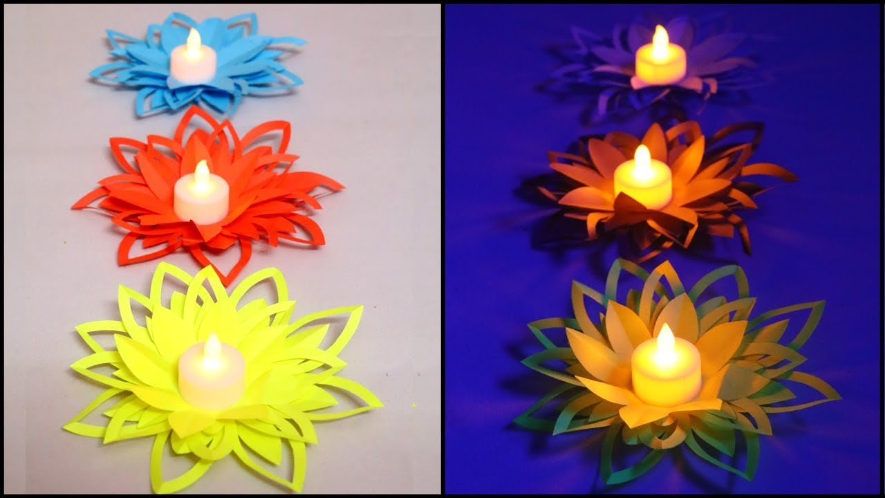 Paper flower diya decoration diy diwali decorations for Diya decoration youtube