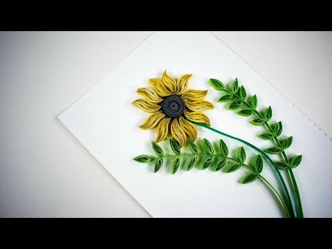Quilling Sunflower - Quilled sunflowers handmade card - quilling for kids - DIY ❤️