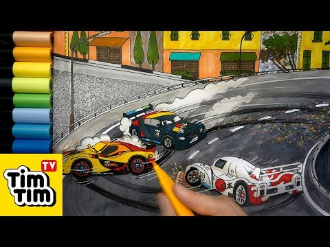 How to draw Max Schnell, Shu & Miguel Crash at Porto Corsa (3) Cars 2 step-by-step coloring pages