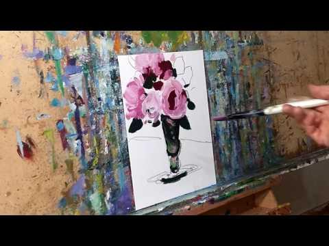 Impressionism Realism Oil Painting Demo Pink Roses Still Life - Jose Trujillo