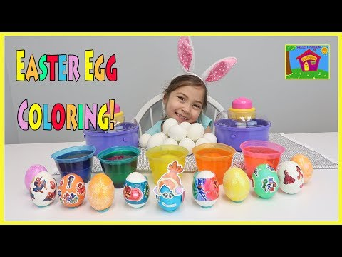 Easter Egg Coloring & Decorating with Disney Princess Surprise Easter Eggs Stickers & More!