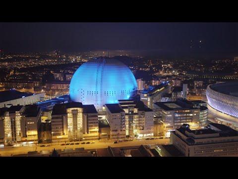 2550. Globen (Stockholm Globe Arena) Drone Stock Footage Video