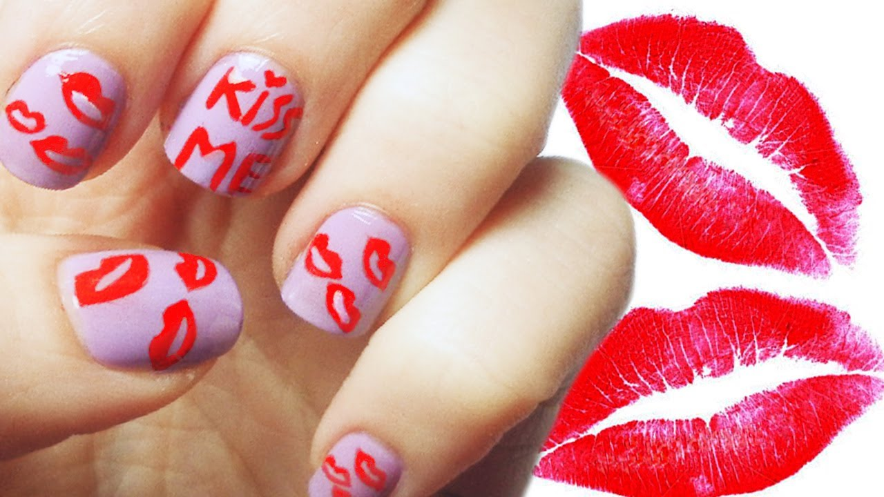 Kiss Me Nail Art Tutorial - YouTube