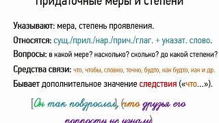 Придаточные меры и степени (9 класс, видеоурок-презентация)