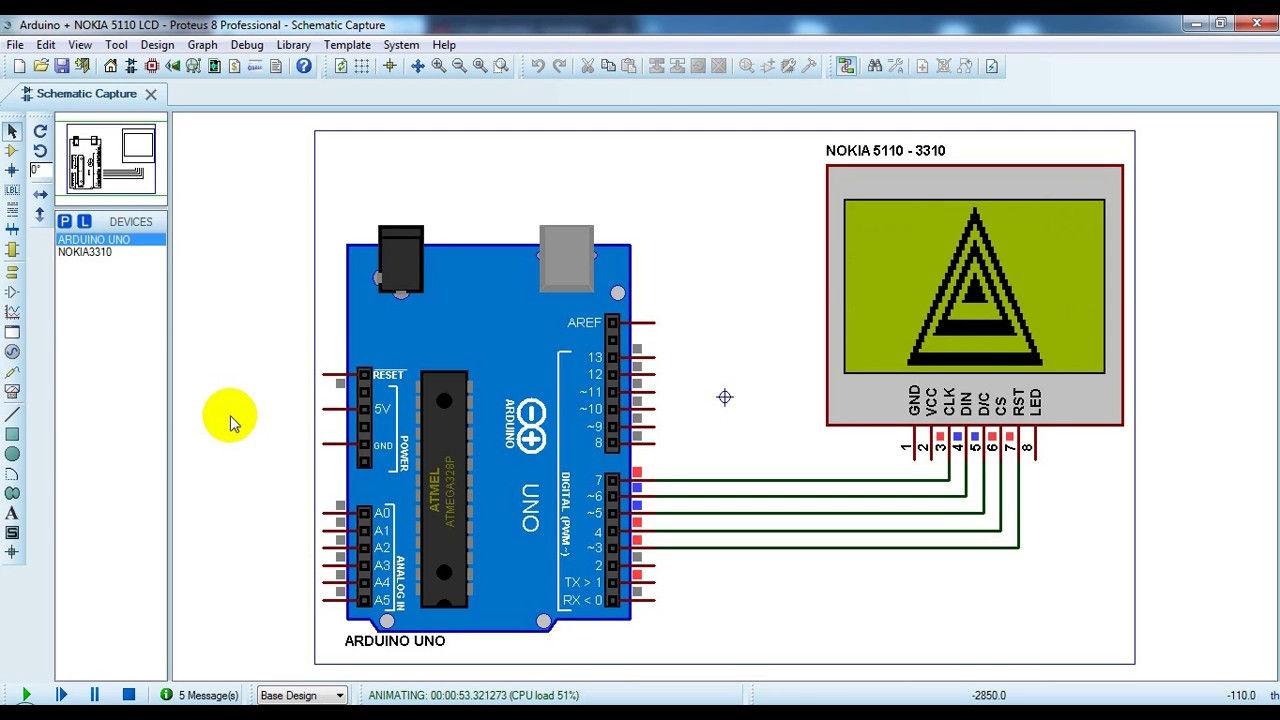 hight resolution of arduino with nokia 5110 lcd proteus simulation