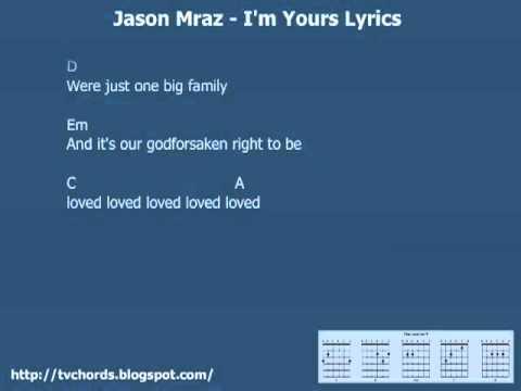 Youtube Jason Mraz I M Yours Guitar Chords And Lyrics Youtube