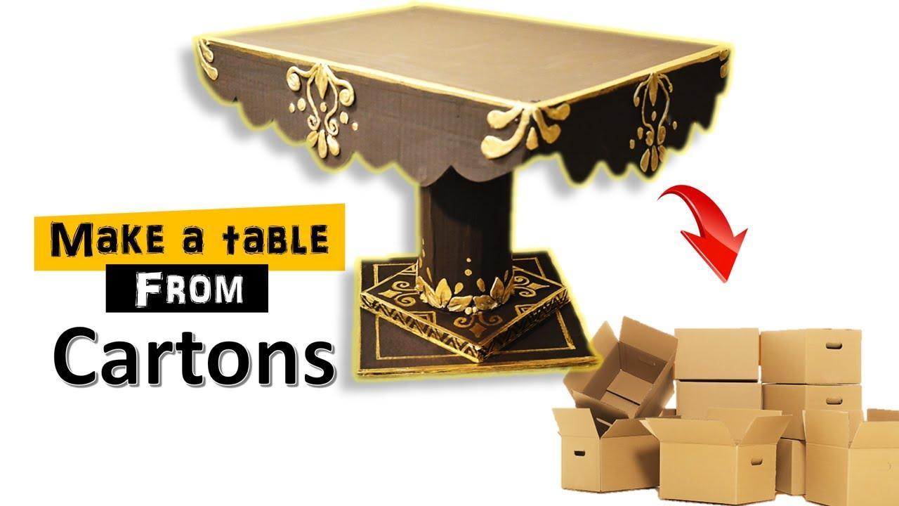طاولة وبالكراتين فقط . شوفو النتيجة Table and only with cartons. craft,  art, carton recycling.