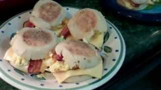 Making Bacon Egg And Cheese Muffins