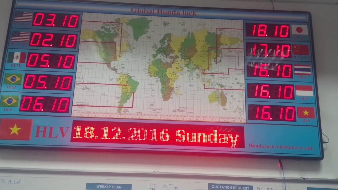 Bảng hiển thị múi giờ quốc gia được thiết kế tại PMTT AU
