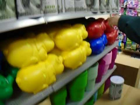 Buying a big coin bank at Dollar World