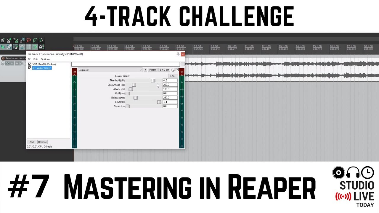Mastering a Track in the Reaper DAW on a Windows PC