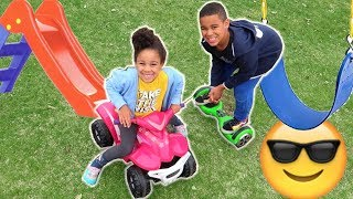 FamousTubeKIDS Drive Car and Hoverboard to the Park!