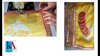 Saree Making at Home with beautiful border easy step by step tutorial // attach lace // DIY