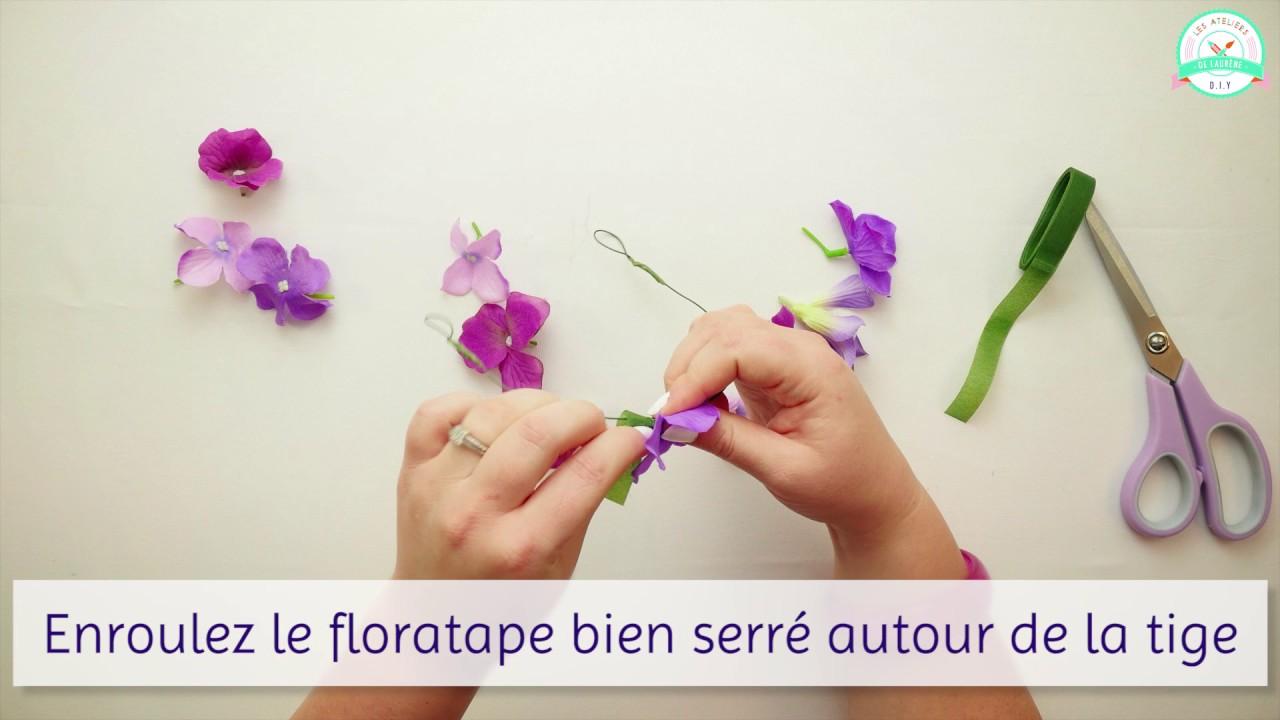 tuto diy couronne de fleurs avec le kit diy des ateliers de laur ne youtube. Black Bedroom Furniture Sets. Home Design Ideas
