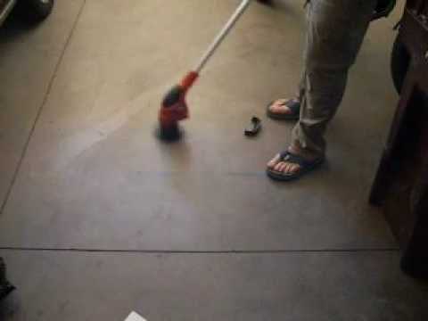 String trimmer used as a powerful floor scrubber youtube for Scrubbing concrete floors