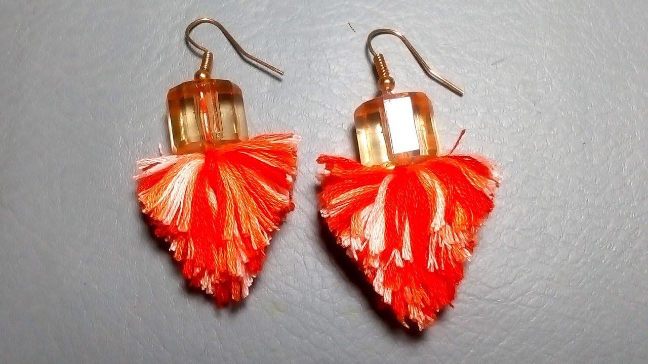 How To Make Embroidery Thread Tassel Earrings Tassel Earrings