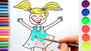 Рисуем девочку. Урок рисования. Раскраска для детей.