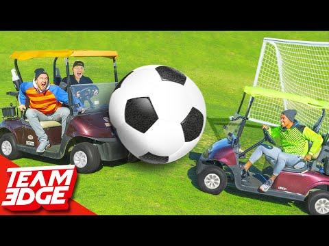 GIANT Golf Cart Soccer Challenge!!