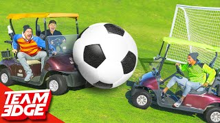 GIANT Golf Cart Soccer Challenge!!