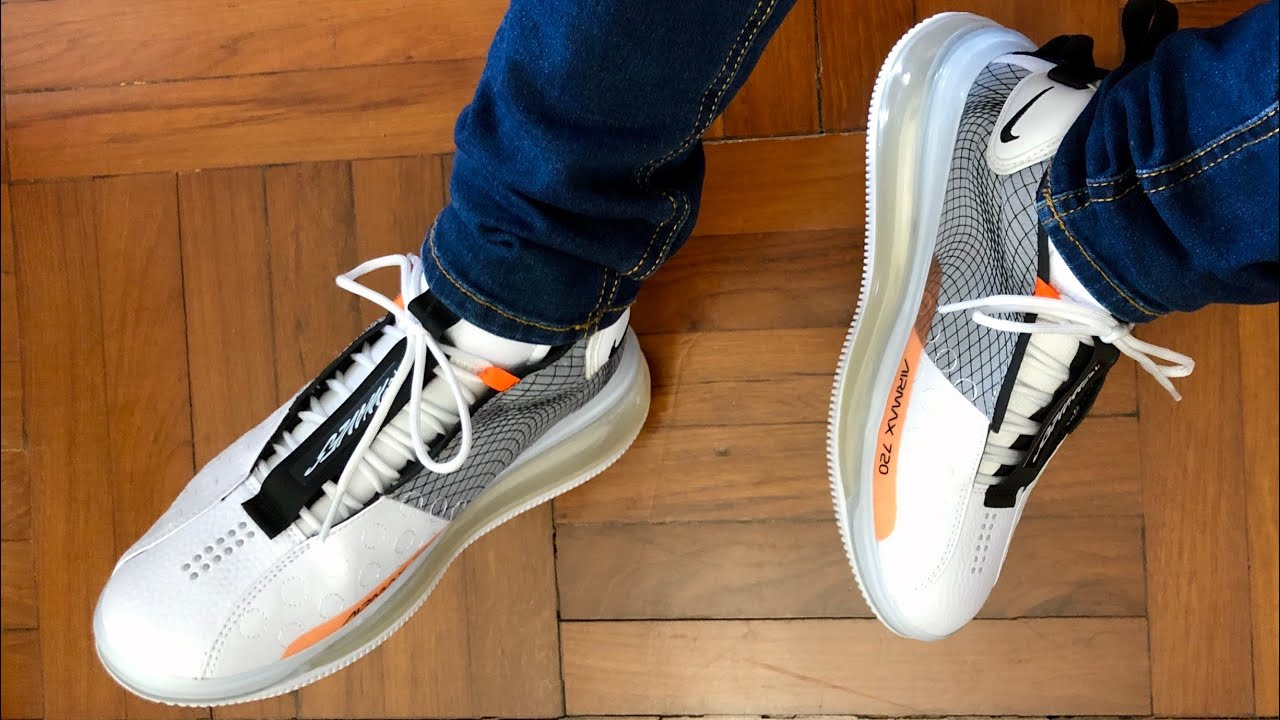 Nike Air Max 720 Waves White Black Wolf-Grey On Feet and Up close Look