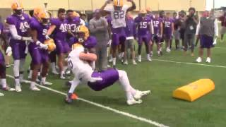 LSU works goal line tackling drill