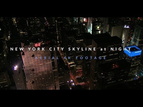 New York City Skyline at Night 4K Drone Footage