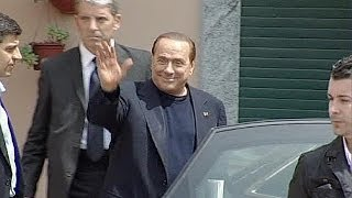 Silvio berlusconi started community service at a care home for the elderly near milan. four hours week he will work with dementia patients. cam...