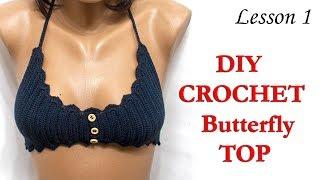"""Топ крючком - Топ """"Бабочка"""" МК1 / Crochet top """"Butterfly"""" DIY"""