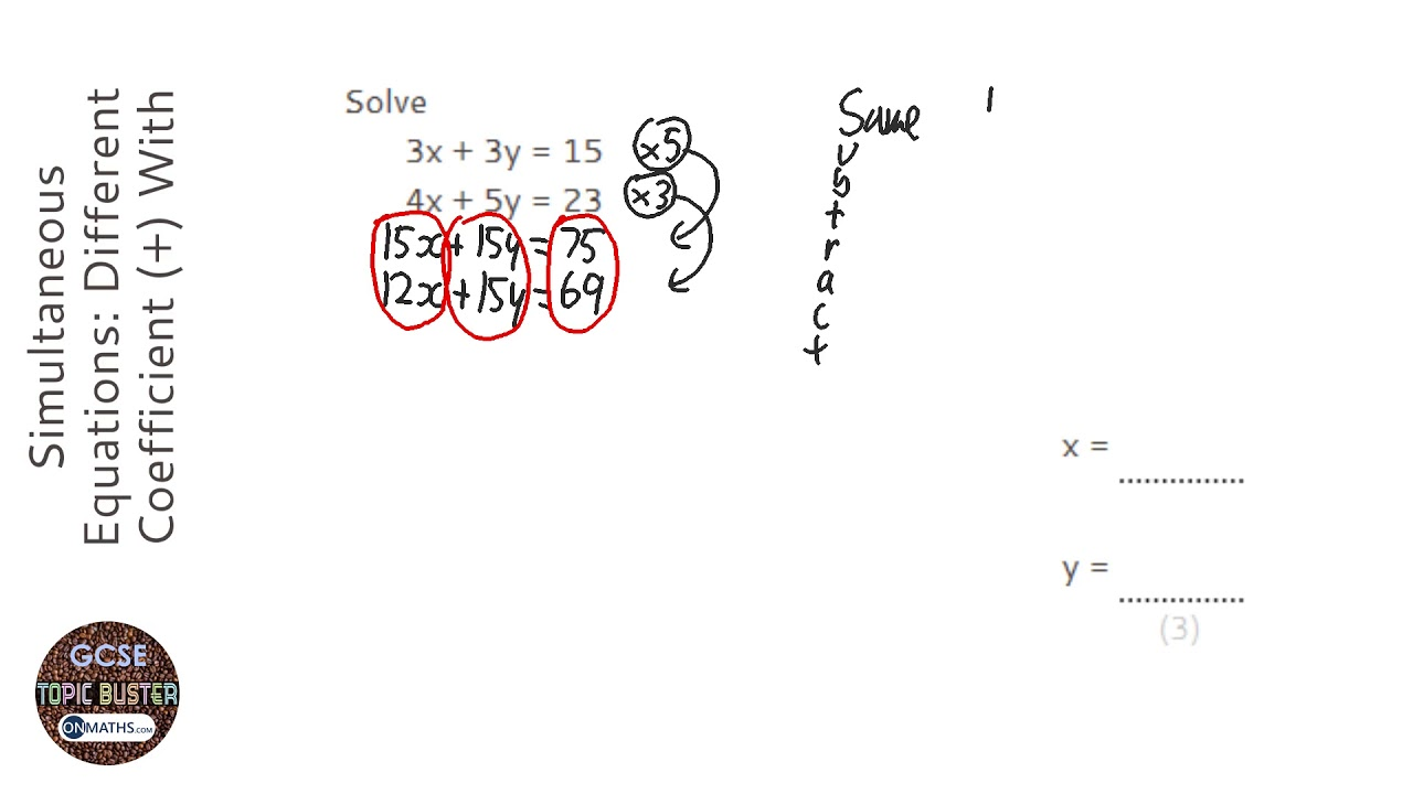 Simultaneous Equations: Different Coefficient (+) With