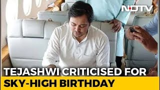 Tejashwi Yadav Cuts Birthday Cake On Chartered Flight, Trolled