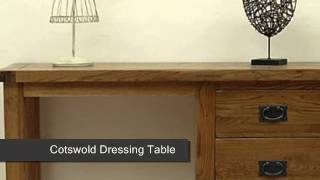 Cotswold Rustic Solid Oak Dressing Table, Stool And Mirror Set