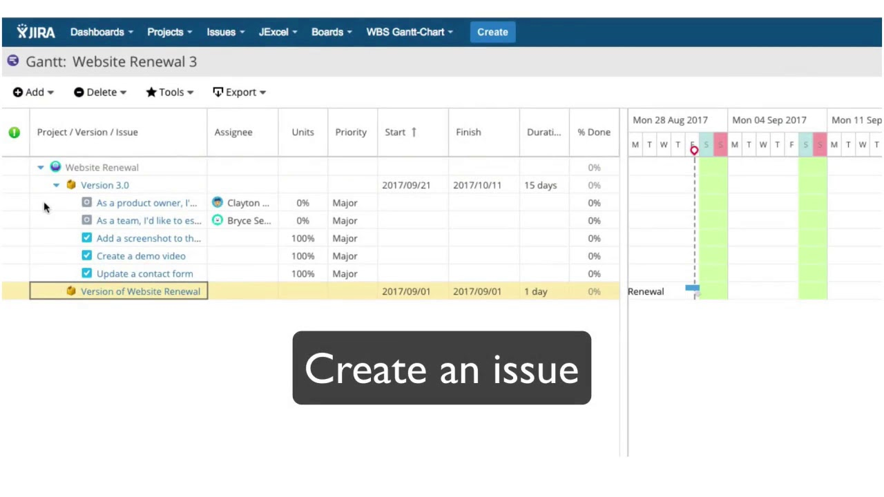 Getting started 2 wbs gantt chart for jira create a version and an getting started 2 wbs gantt chart for jira create a version and an issue geenschuldenfo Images