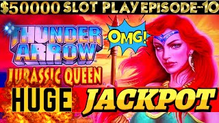 BIG Handpay Jackpot On New THUNDER ARROW Jurassic Queen Konami Slot Machine  SEASON 6   EPISODE #10
