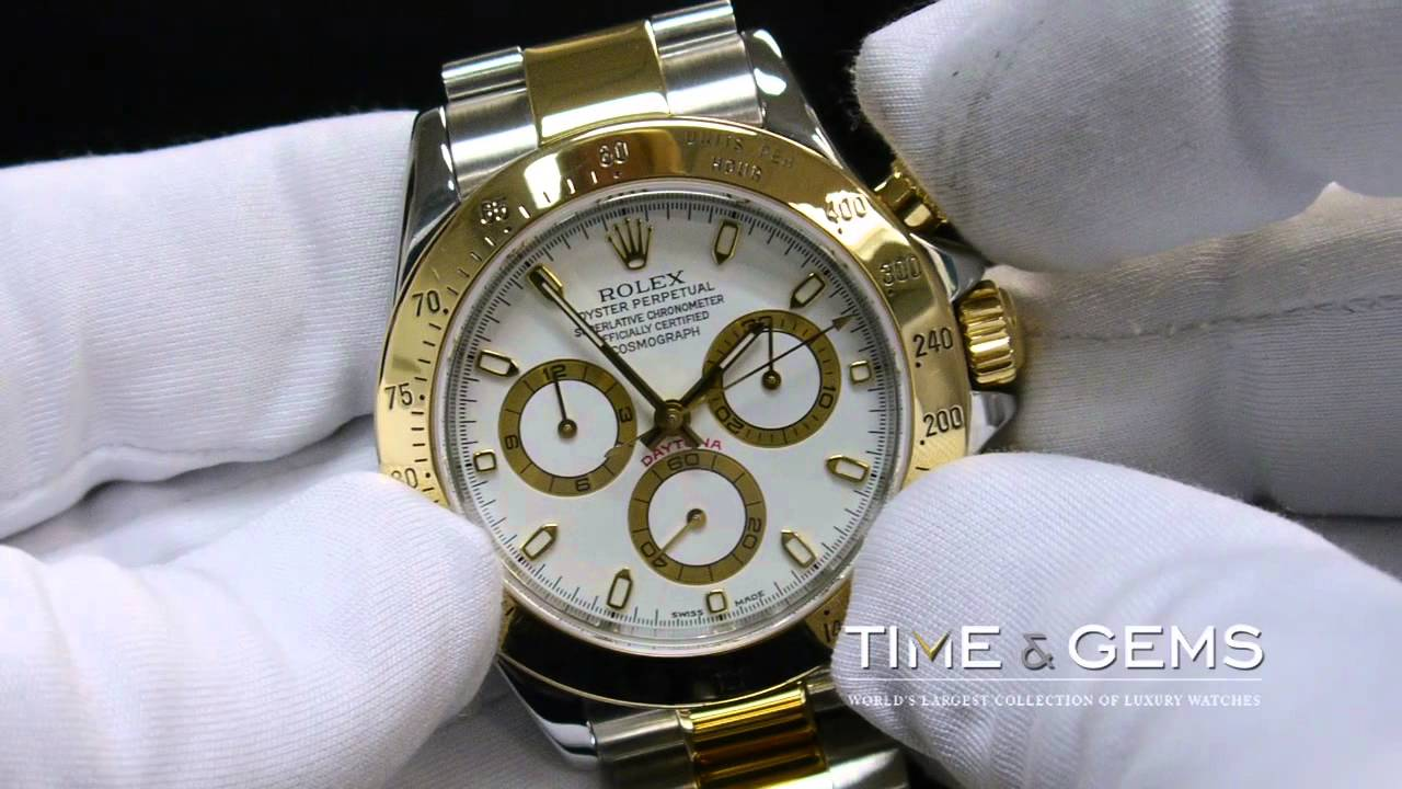 8b6294756 ROLEX COSMOGRAPH DAYTONA TWO TONE WHITE DIAL - YouTube