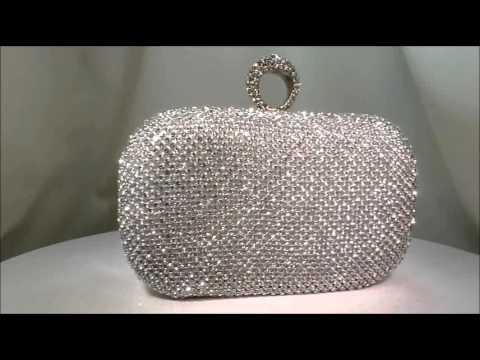 Crystal Encrusted Hard Case Finger Ring Clutch Bag - 00024